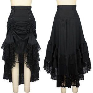 Victorian Gothic Steampunk Long Ruffle Skirt
